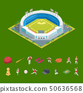 Soccer or Baseball Park or Stadium and Elements Concept 3d Isometric View. Vector 50636568