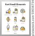 Fast food elements LineColor pack 50636734