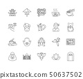Asia line icons, signs, vector set, outline illustration concept  50637502
