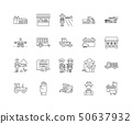 Agricultural contractors line icons, signs, vector set, outline illustration concept  50637932