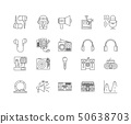 Acoustics line icons, signs, vector set, outline illustration concept  50638703