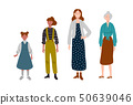 Women. Different ages. Generation of people, family, female line. 50639046