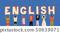 Diverse people holding letters word English. Learn foreign language 50639071