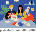 Learn English. Students studying with books. Group of people in classroom. 50639080