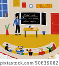 English Lesson. Teacher near blackboard in classroom. 50639082