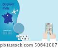 Discover Paris tourism tempate concept vector 50641007