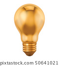 Golden light bulb, idea concept. 3D rendering 50641021