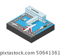 Airport building with airplans, bus, cargo cars loader, stairs. Vector isometric illustration. 50641361