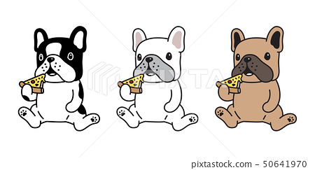 dog vector french bulldog icon pizza eating cute 50641970