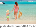 Toddler boy on beach with mother 50642532