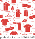 Pattern with irons, hangers and different clothes 50642849