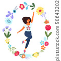 Vector template with happy woman in the flower circle. Modern flat colorful vector illustration. 50643202