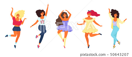 Bundle of dancing young pretty girls. Modern flat colorful vector illustration. 50643207