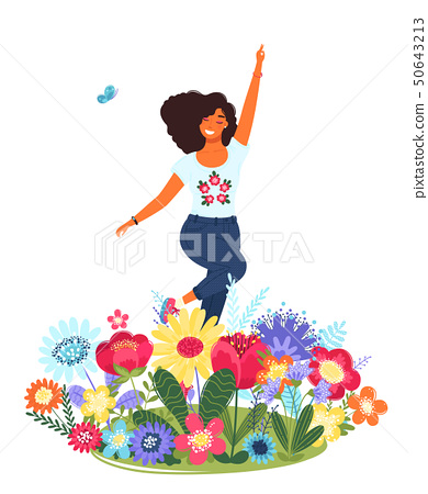 Vector template with happy woman and flowers. Modern flat colorful vector illustration. 50643213