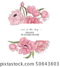 Tender peony drawing banner. Flower composition with peony and leaves, advertising banner. Botanical 50643603
