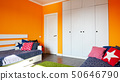 Kids bedroom in orange and blue colors 50646790