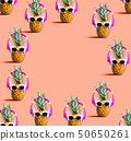 Round frame of pineapples wearing headphones 50650261