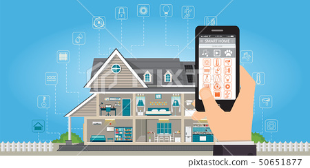 Smart home with hand holding smartphone. 50651877