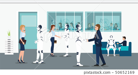 Human and robots office workers. 50652169