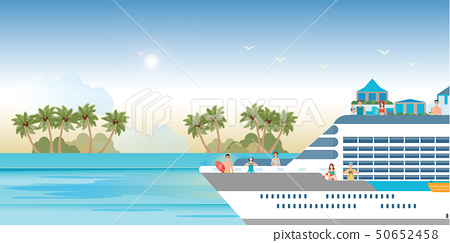 Cruise ship with tourists traveling on a cruise 50652458