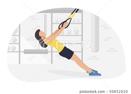 Fit woman working out on trx doing bodyweight exercises. Fitness strength training workout. 50652810