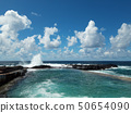 ocean wave splash on rocks at coast on a sunny day 50654090