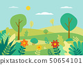 Spring landscape Vector illustration in flat style 50654101