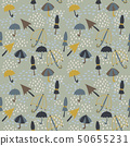 seamless pattern with umbrella doodle, line art 50655231