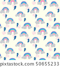 seamless pattern with cloud doodle, rainy, thunder 50655233
