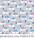 seamless pattern with cloud doodle, rainy, thunder 50655234