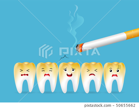 Teeth with cigarette.  50655662