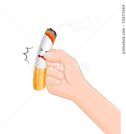 Human hands hits a cigarette.  50655664