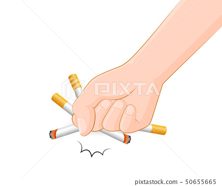 Human hands crushing cigarette. 50655665