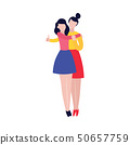Two young women hugging, female friendship 50657759