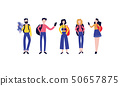 Vector flat tourists men women photo set 50657875