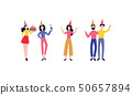 Vector happy men women in party hat set 50657894