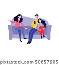 Friends spending time together flat vector illustration isolated on background. 50657905