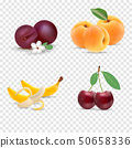 Cute bright colors of fruits vector collections. Set of fruits cherry, apricot, banana. Available in 50658336