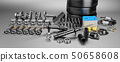 Auto parts spare parts car on the grey background. 3D rendering 50658608