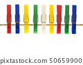 Colorful cloth pegs on white background 50659900