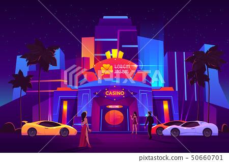 Gamblers arriving to casino cartoon vector concept 50660701