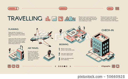 Traveling services isometric vector infographics 50660928