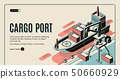 Cargo port isometric vector landing page template 50660929