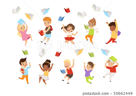 Flat vector set of cartoon children characters jumping and throwing books up in the air. Happy 50662449