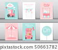 Set of baby shower invitation cards,birthday cards 50663782