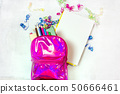 Back to school concept. Backpack with school supplies. Top view. Copy space 50666461