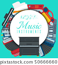 Music keyboard instrument playing synthesizer equipment vector illustration. Harmony performance 50666660