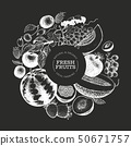 Fruits and berries design template. Hand drawn 50671757