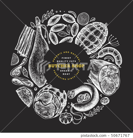 Vintage vector meat products design template. Hand 50671767