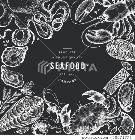 Seafood and fish design template. Hand drawn 50671773